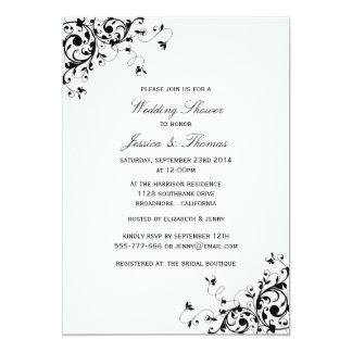 Eleganter Wirbel schwarz u. weißer Polterabend 12,7 X 17,8 Cm Einladungskarte