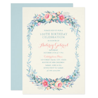 Elegantes 100. Geburtstags-PartyblumenWatercolor Karte