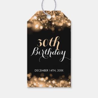 Elegantes 30. Geburtstags-Goldfunkelnde Lichter Geschenkanhänger
