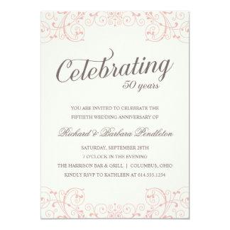 Elegantes 50. Hochzeits-Jahrestags-Party 12,7 X 17,8 Cm Einladungskarte