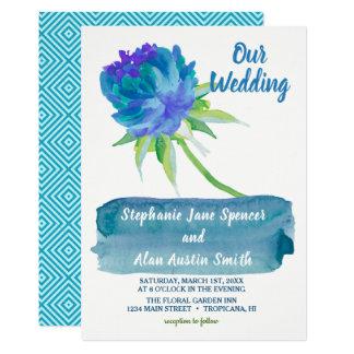 Elegantes Aquarell-blaue Blumenhochzeits-Einladung Karte