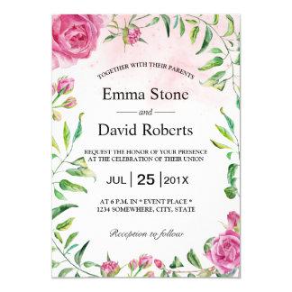 Elegantes Aquarell-Blumengarten-Hochzeit 12,7 X 17,8 Cm Einladungskarte