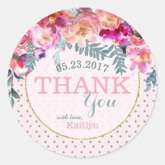 Elegantes Aquarell-BlumenKranz danken Ihnen Runder Aufkleber