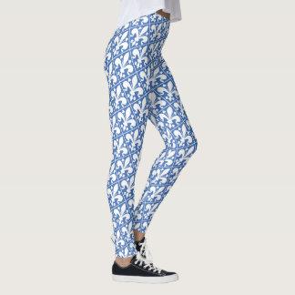 Elegantes Blau und White Fleur de Lys French Leggings