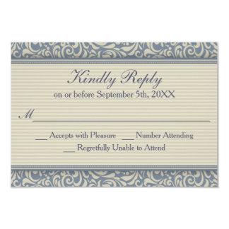Elegantes blaues und beige barockes Hochzeit UAWG Karte