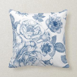Elegantes blaues weißes Vintages Blumendekorkissen Kissen
