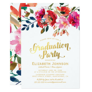 Elegantes Blumenwatercolor-Abschluss-Party Karte