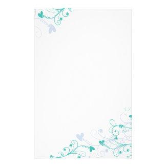 Elegantes Briefpapier - Wirbel u. Herzen