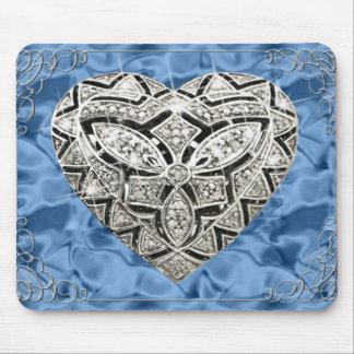 Elegantes Designer-Herz-blaue Mausunterlage Mousepads