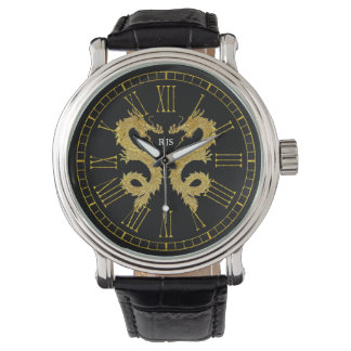 Elegantes Drache-Monogramm personifizieren Armbanduhr