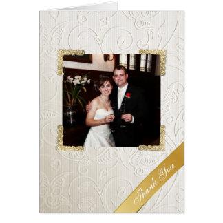 Elegantes Elfenbein-Damast-Hochzeits-Foto danken Mitteilungskarte
