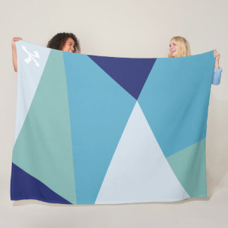 Elegantes geometrisches Marineblau und Fleecedecke