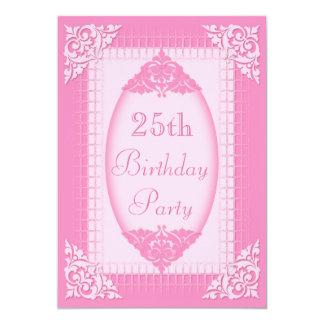 Elegantes, Girly Rosa-25. Geburtstag Einladungskarte