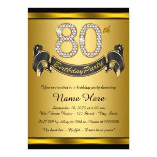 Elegantes Gold80. Geburtstags-Party Karte