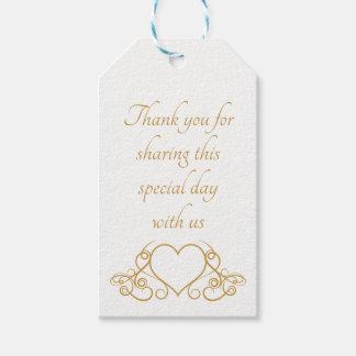 Elegantes Gold danken Ihnen Herz-Gastgeschenk Geschenkanhänger
