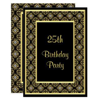 Elegantes Gold, der 25. Geburtstag des 12,7 X 17,8 Cm Einladungskarte
