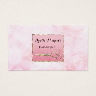 Elegantes Gold Scissors schicken rosa Visitenkarte