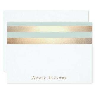 Elegantes Gold Stripes hellblaues personalisiertes 11,4 X 15,9 Cm Einladungskarte