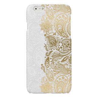 Elegantes Gold u. weiße Blumenpaisley-Spitze