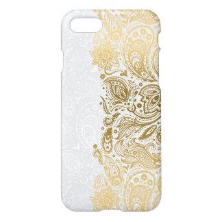 Elegantes Gold u. weiße Blumenpaisley-Spitze iPhone 7 Hülle
