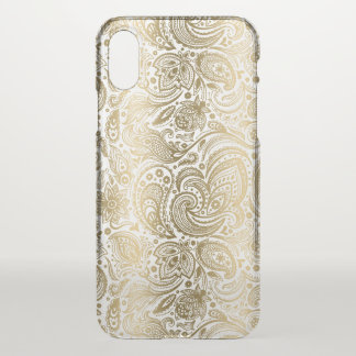 Elegantes Gold u. weißes Blumenpaisley iPhone X Hülle