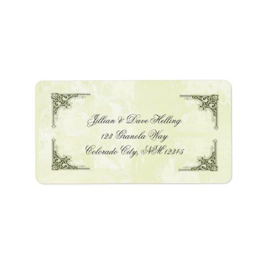 Elegantes Gold und grüne FilagreAdressen-Etiketten Adressaufkleber