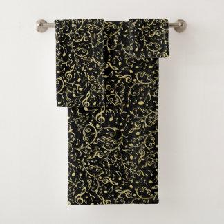 Elegantes GoldblumenMusiknoten auf schwarzem Badhandtuch Set