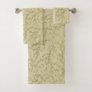 Elegantes GoldblumenMusiknoten-Muster-Tuch-Set Badhandtuch Set
