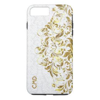 Elegantes Goldblumenspitze-Weiß-Damaste iPhone 8 Plus/7 Plus Hülle