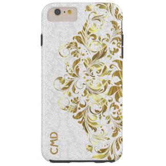 Elegantes Goldblumenspitze-Weiß-Damaste Tough iPhone 6 Plus Hülle