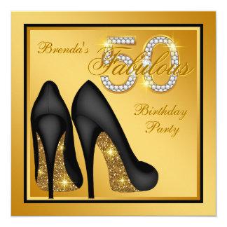 Elegantes Goldfabelhaftes 50. Geburtstags-Party Quadratische 13,3 Cm Einladungskarte