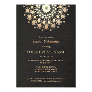 Elegantes GoldMandala-Schwarz-formale Einladung