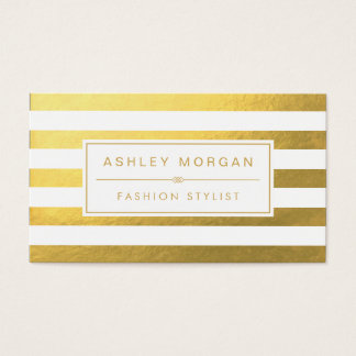 Elegantes Goldweiße Streifen - schick und stilvoll Visitenkarten
