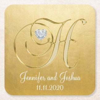 Elegantes Goldweißes Hochzeits-Herz-Monogramm H Rechteckiger Pappuntersetzer