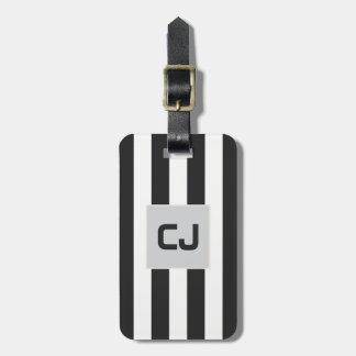 Elegantes graues Weiß Stripes Monogramm Kofferanhänger