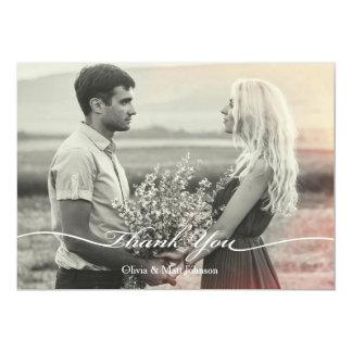 Elegantes Hochzeits-Foto danken Ihnen zu kardieren 12,7 X 17,8 Cm Einladungskarte