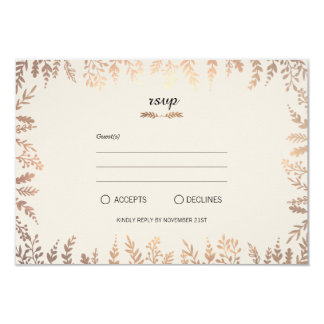 Elegantes Imitat-Goldlaub 8,9 X 12,7 Cm Einladungskarte