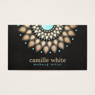 Elegantes Imitat-Goldlotos-Blumen-Schwarzes Visitenkarten
