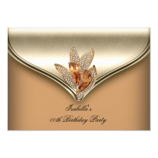 Elegantes Karamell-beige Goldgeburtstags-Party Karte