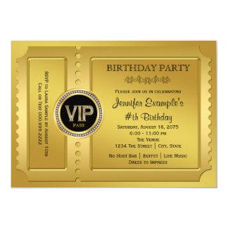Elegantes Karten-Geburtstags-Party VIP goldenes 12,7 X 17,8 Cm Einladungskarte