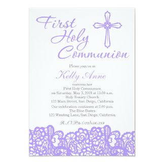 Elegantes Kreuz-erste heilige Kommunions-Einladung 12,7 X 17,8 Cm Einladungskarte