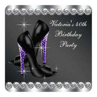 Elegantes lila 40. der Geburtstags-Party der Frau Quadratische 13,3 Cm Einladungskarte