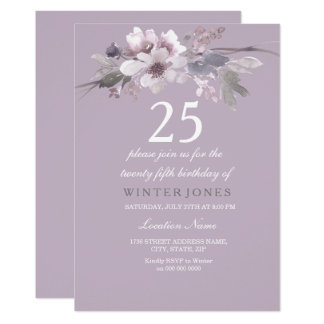 Elegantes lila Blumen25. Geburtstags-Party laden Karte