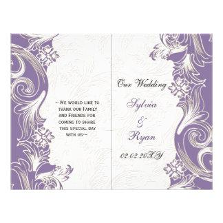 Elegantes lila Blumenbifalte Hochzeitsprogramm Flyerdruck
