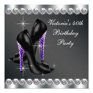 Elegantes lila der Geburtstags-Party der Frau Quadratische 13,3 Cm Einladungskarte
