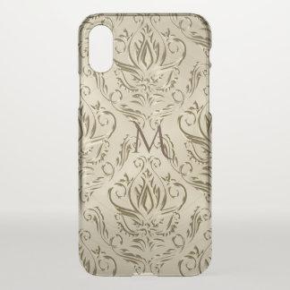 Elegantes metallisches Golddamast-Monogramm iPhone X Hülle