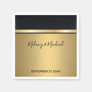 Elegantes modernes schickes Gold/schwarze Hochzeit Papierserviette
