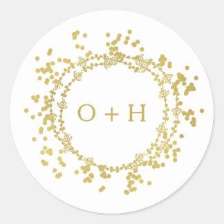 Elegantes Monogramm, das | weiß u. Gold Wedding Runder Aufkleber