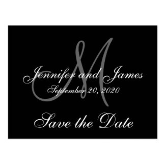 Elegantes Monogramm Save the Date Postkarte