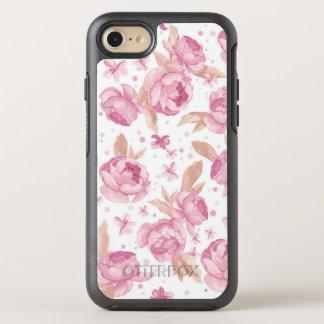 Elegantes rosa Blumenmuster OtterBox Symmetry iPhone 8/7 Hülle